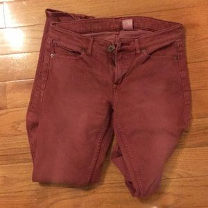 Uniqlo red jeans size 6